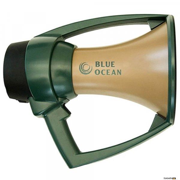 blue ocean waterproof megaphone with gold horn and green bumper