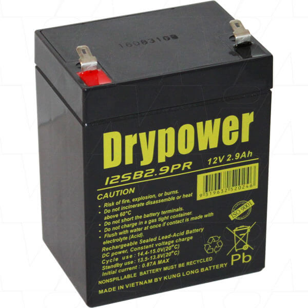 sealed lead acid battery 12V 2.9AH