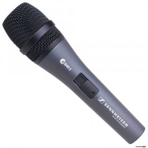 Sennheiser e845-S Dynamic super-cardioid vocal mic w/ On/Off switch.