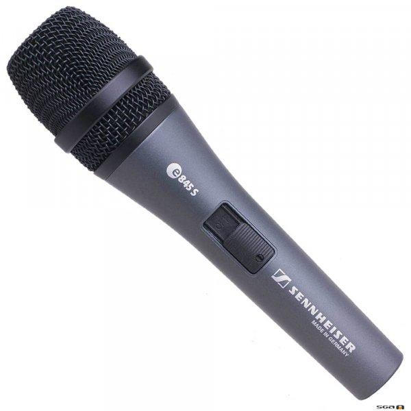 Sennheiser e845-S Dynamic super-cardioid vocal mic w/ On/Off switch.