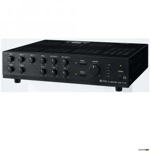 TOA A1706 60W Mixer Amplifier, 100V, 2 zone, 9 inputs, selectable phantom power. 70V & 4Ohm
