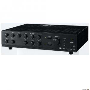 TOA A1712 120W Mixer Amplifier, 100V, 2 zone, 9 inputs, selectable phantom power, 70V & 4Ohm.