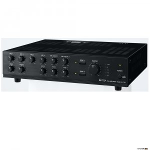 TOA A1724 240W Mixer Amp, 100V. 2 zone, 9 inputs, selectable phantom power. 70V & 4Ohm