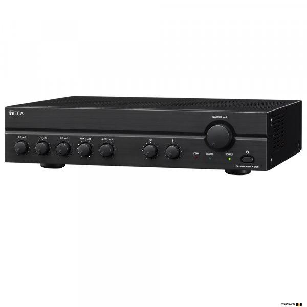 TOA A2120D 120W Class D Mixer Amp, 100V only output. 3x MIC inputs, Mic 1 VOX, 2x line.