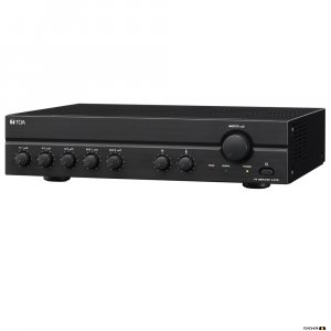 TOA A2240D 240W Class D Mixer Amplifier, 100V only output. 3 x Mic, 2 x Aux, Vox Muting.