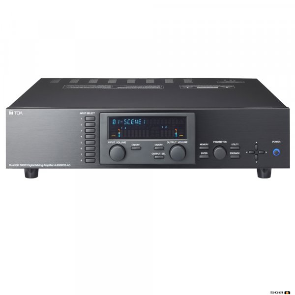TOA A9500D2 Powered 8x8 DSP Matrix Mixer with 2x 500W 100V line ouputs.