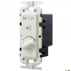 TOA AT303AP is a flush-mounted wall attenuator with transformer for 30 W or less loads. Adjusted in five steps. Push-in terminal block for easy connection.