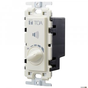 TOA AT603AP is a flush-mounted wall attenuator and uses a transformer loads 60 W or less. Adjusted in five steps. Push-in terminal block for easy connection.