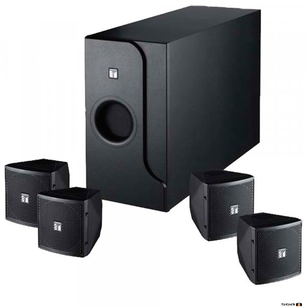 TOA BS301B 2-way speaker system. Subwoofer with 4 x Satellite speakers - black