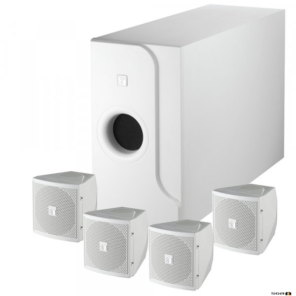 TOA BS301W 2-way speaker system. Subwoofer with 4 x Satellite speakers. white