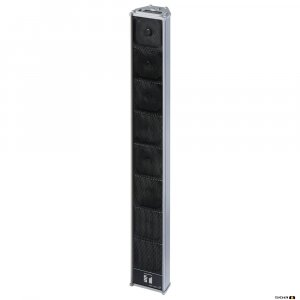 TOA HA1010bkt Long Range Slim Array Speaker with multiple horn speakers set in an array and wall mount brackets