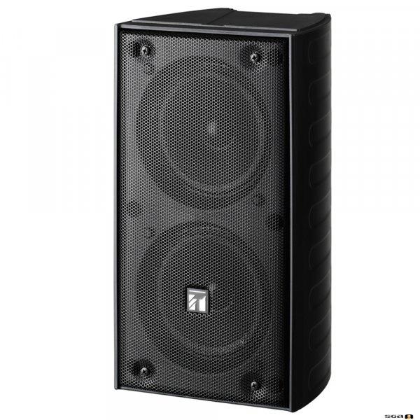 TOA TZ206BWP 20W Black Column Speaker, 2x 100 mm drivers, 100V line 150Hz-13kHz, 89dB - IP65