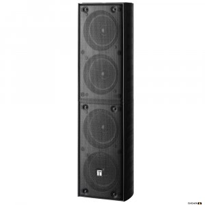TOA TZ406BWP 40W Black Column Speaker, 4x 100 mm drivers, 100V line 150Hz-13kHz, 92dB - IP65