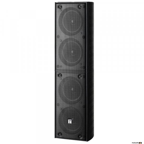 TOA TZ406BWP 40W Black Column Speaker, 4x 100 mm drivers, 100V line 150Hz-13kHz, 92dB - IP65