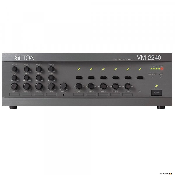 TOA VM2240 240W ZONE PAGING AMPLIFIER WITH three line/mic inputs, 2 BGM inputs and remote mic capability as well as telephone paging.