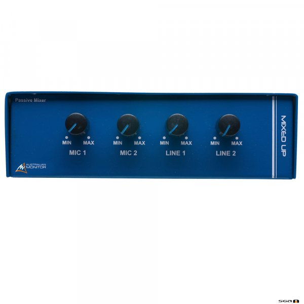 Australian Monitor MIXEDUP 4 channel mixer. 2 XLR mic level in, 2 dual RCA line in to single XLR output.