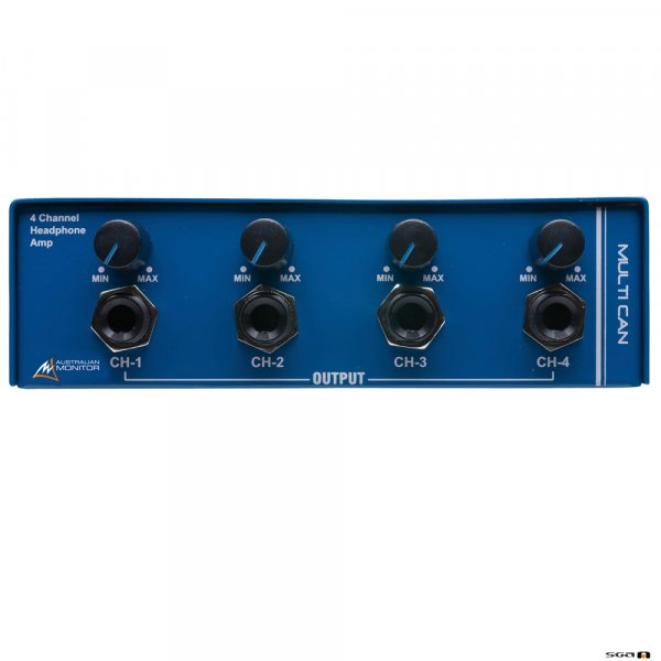 Australian Monitor MULTICAN 4 ch h/phone amp. 6.35mm TRS, dual RCA and dual XLR stereo inputs to 6.35mm