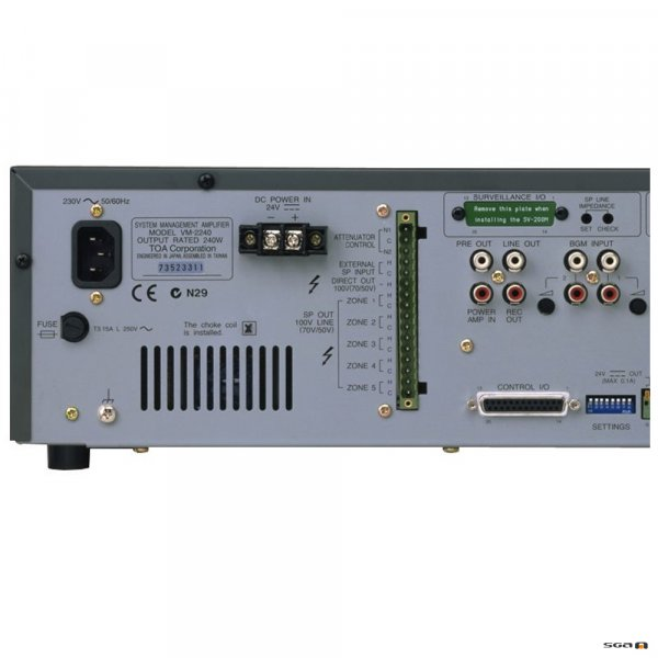 TOA VM2240 rear panel left side inputs and outputs