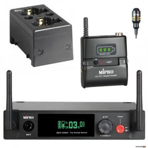 MIPRO ACT2401-BP consists of a Single Channel 2.4GHz Digital Diversity Receiver and Mipro ACT24TC Beltpack transmitter, MU53L Lapel Microphone and BONUS MP80 charging station