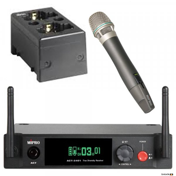 ACT2401 with ACT24HC Rechargeable Wireless Handheld Microphone, BONUS MP80 charging station and MD20 Microphone clip