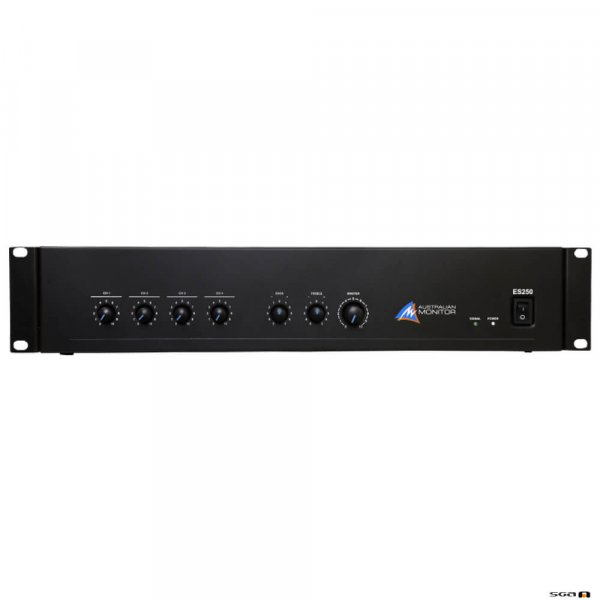 Australian Monitor ES250 250W Mixer Amplifier 4 XLR/dual RCA Inputs. Now featuring 2 channels of priority VOX muting, integrated tone generator