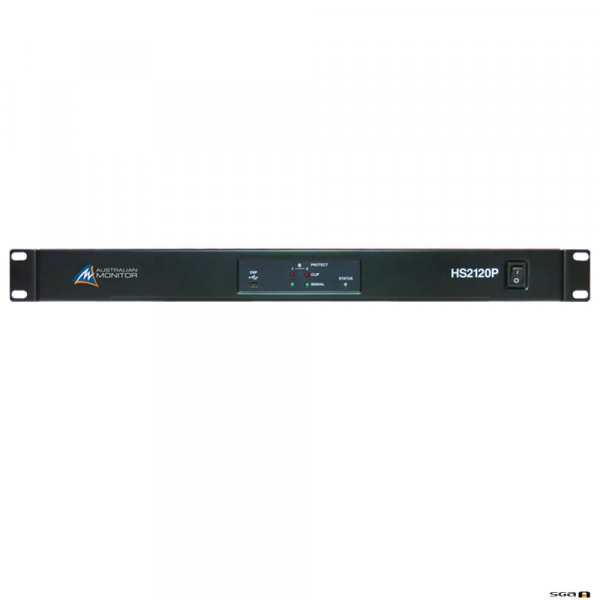 Australian Monitor HS2250P Power Amplifier: 2 x 250 watts, 100 volt line or low impedance with mini DSP.