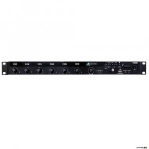 Australian Monitor HS250 250W mixer amplifier with 9 inputs, 12V phantom pwr, B/Tooth, MP3, 100V, 70V & 4ohm.