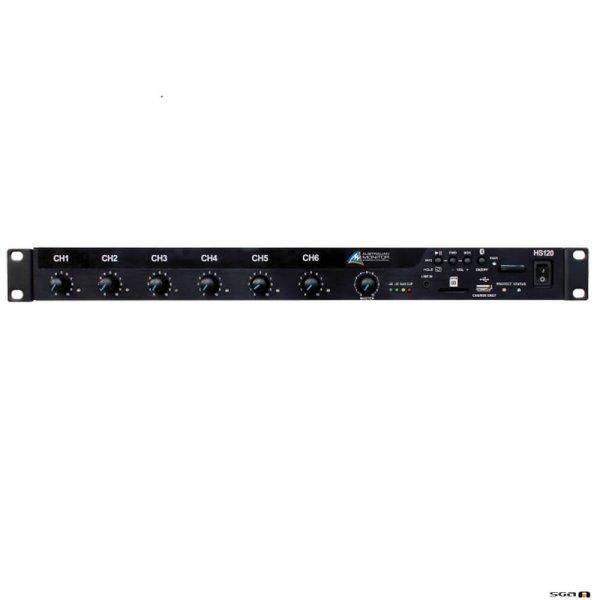 Australian Monitor HS250 250W mixer amplifier with 9 inputs, 12V phantom pwr, B/Tooth, MP3, 100V, 70V & 4ohm.