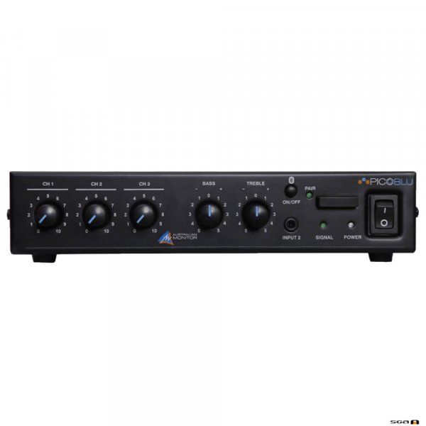 Australian Monitor PICOBLU, 30W Mixer Amp, 3 inputs, 4ohm and 100V outputs.