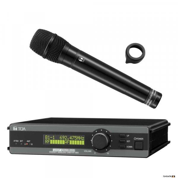 TOA WT5805HTPD UHF Diversity Wireless Receiver w/ WM5270 Handheld Dynamic Vocal Microphone. 636-666MHz