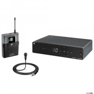Sennheiser XSW 1-ME2 diversity wireless microphone receiver, bodypack and omni directional lapel microphone
