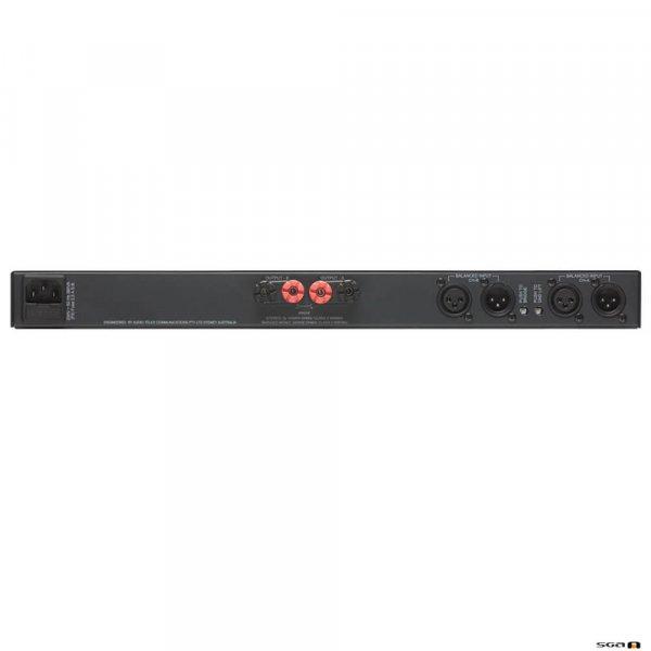 Australian Monitor AV2-2P Power Amplifier. 2 x 100 Watts @ 4 Ohm / 2 x 75 Watts @ 8 Ohm / 1 x 200 Watts @ 8 Ohm. Convection cooled. 1RU