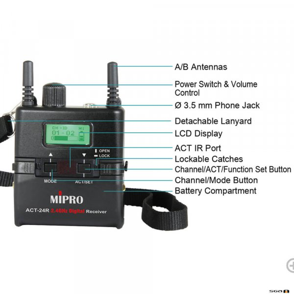 MiPro ACT24R Rechargeable 2.4 GHz miniture bodypack-sized receiver.
