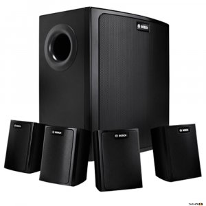 Bosch LB6-100S-D black wall mount background music speaker package.