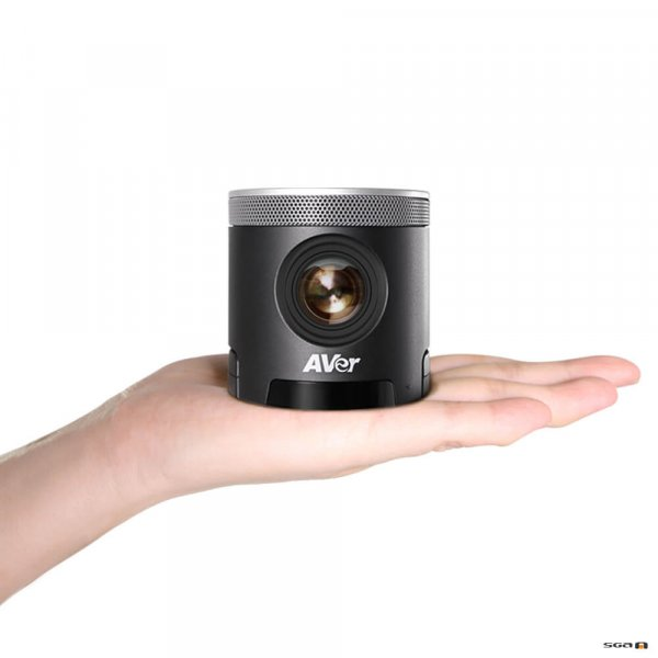 Aver CAM340+ Professional Video Conference Camera in human hand showing compact size