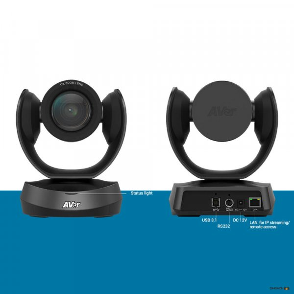 Aver CAM520PRO Camera front and labelled rear