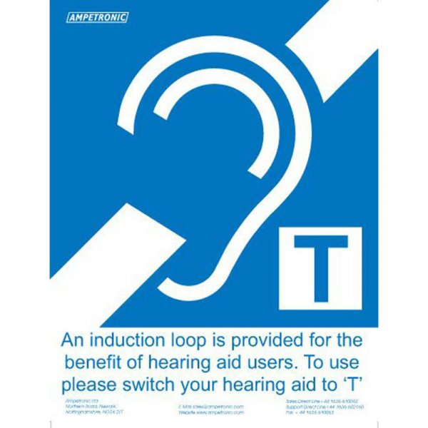 Ampetronic GG00001 Induction Loop Sign Large A4