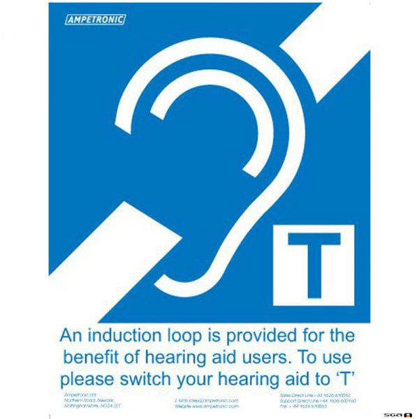 Ampetronic GG00002 Induction Loop Adhesive Sign Small A6