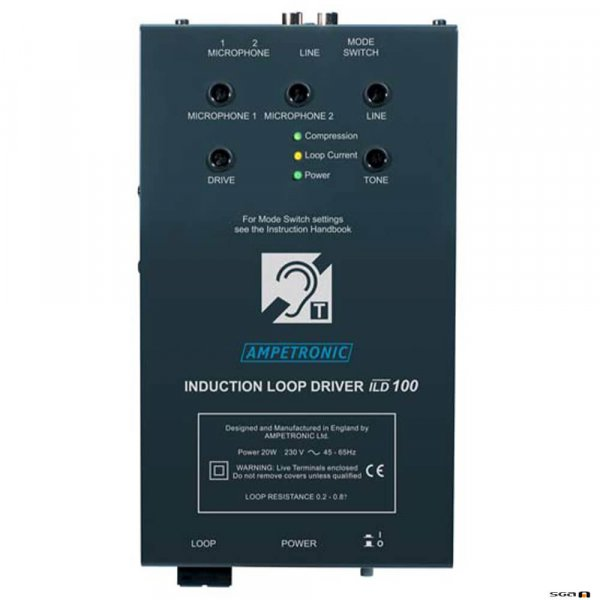 Ampetronic ILD100 audio induction loop driver, side