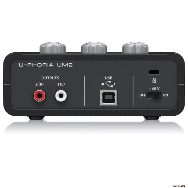 Behringer UM2 Audiophile 2x2 USB Audio Interface rear