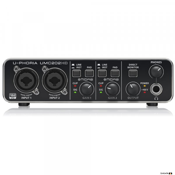 Behringer UMC202HD Audiophile 2x2, USB Audio Interface front
