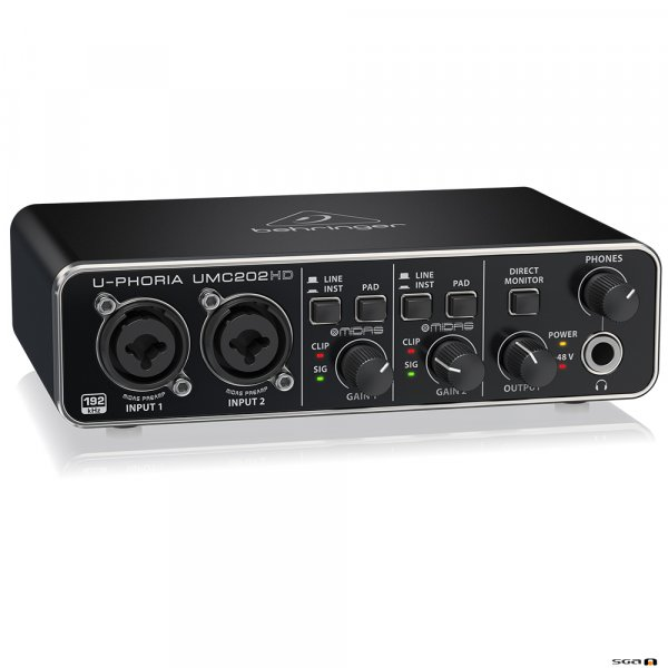 Behringer UMC202HD Audiophile 2x2, USB Audio Interface left