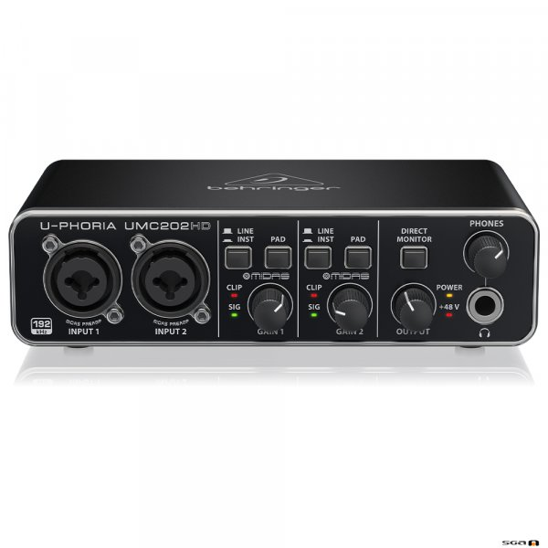 Behringer UMC202HD Audiophile 2x2, USB Audio Interface front top