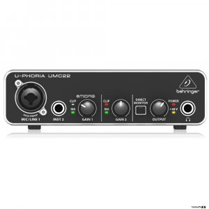 Behringer UMC22 Audiophile ultra-compact 2 x 2, 48 kHz USB audio interface front