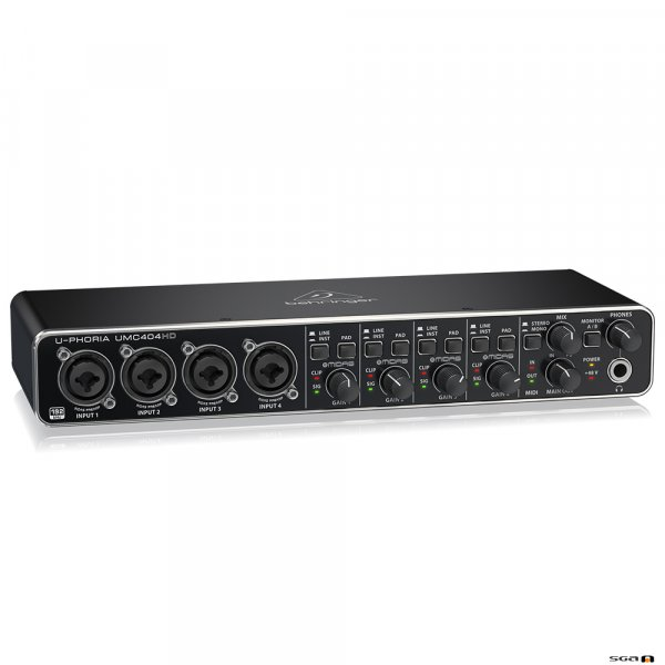 Behringer UMC404HD Audiophile 4x4, 24-Bit/192 kHz USB Audio/MIDI Interface with MIDAS Mic Preamplifiers front
