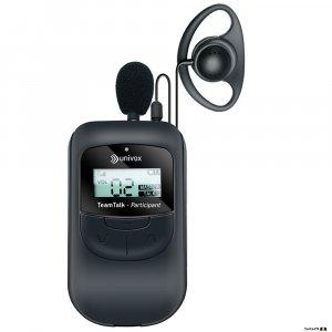 Univox TeamTalk-P Participant transceiver pendant with earpiece and pendant mic.