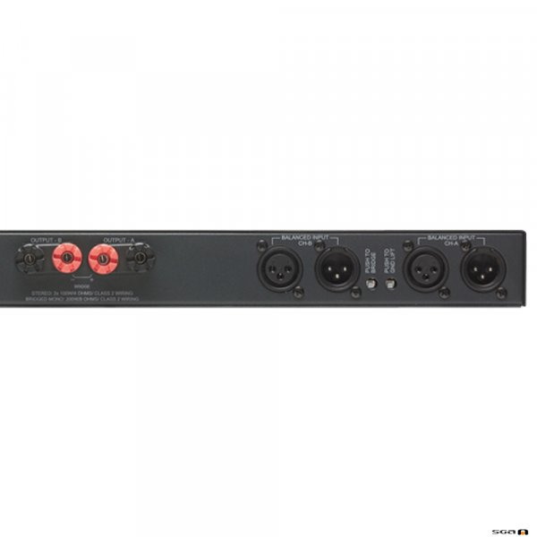 Australian Monitor AV2-2P 1RU low impedance, convection cooled stereo power amplifier. rear zoom