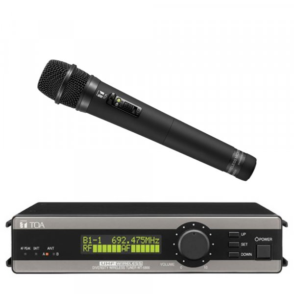 TOA WT5800HTC UHF True Diversity Wireless Receiver w/ electret condenser microphone WM5225. Available in 636-666MHz or 578-606MHz.