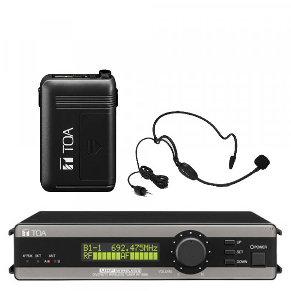 TOA WT5800PTH UHF True Diversity Wireless Receiver w/ Beltpack Transmitter WM5325, Head set Microphone WH4000H. Available in 636-666MHz or 578-606MHz.