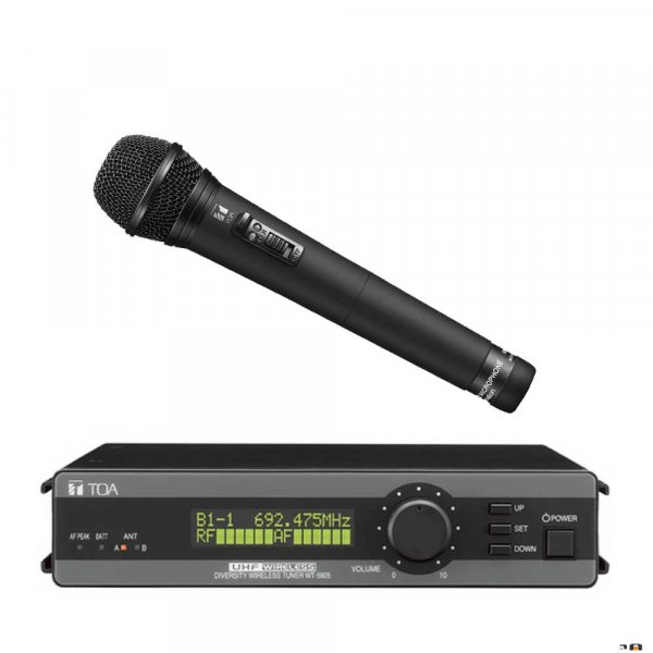TOA WT5805HTD UHF Diversity Wireless Receiver w/ WM5265 Handheld Dynamic Microphone. 636-666MHz